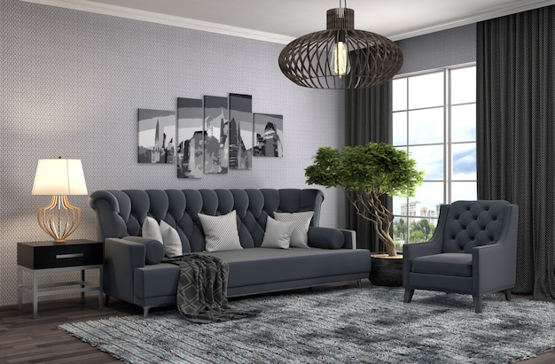 Interieur mit sofa. 3d-illustration