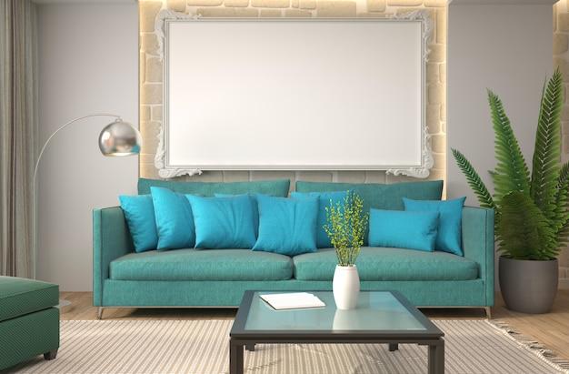 Interieur mit sofa. 3d-illustration