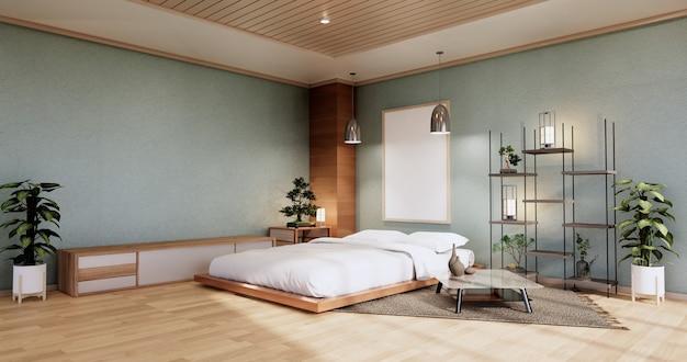 Interieur mit zen-bettanlage und dekoartion im japanischen cyan-schlafzimmer. 3d-rendering.