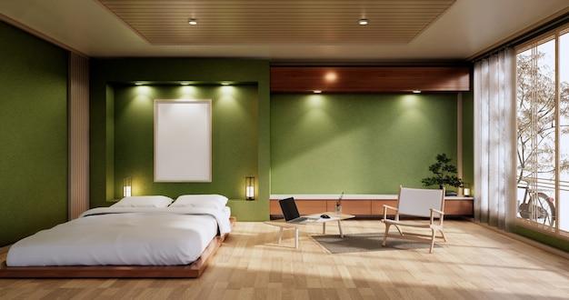Interieur mit zen-bettanlage und dekoartion im japanischen grünen schlafzimmer. 3d-rendering.
