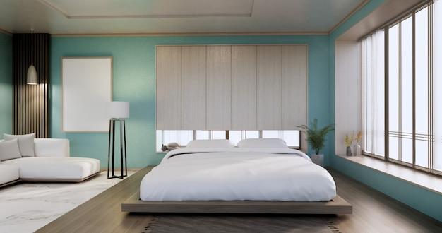 Interieur, mock-up mit zen-bettanlage und dekoartion im japanischen cyan-schlafzimmer. 3d-rendering.