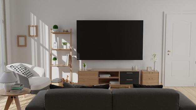 Interieur verspotten wohnzimmer mit buntem weißem sessel 3d-rendering