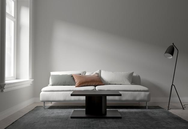 Interieur wohnzimmer im modernen stil, weißes sofa und tageslicht bilden fenster.