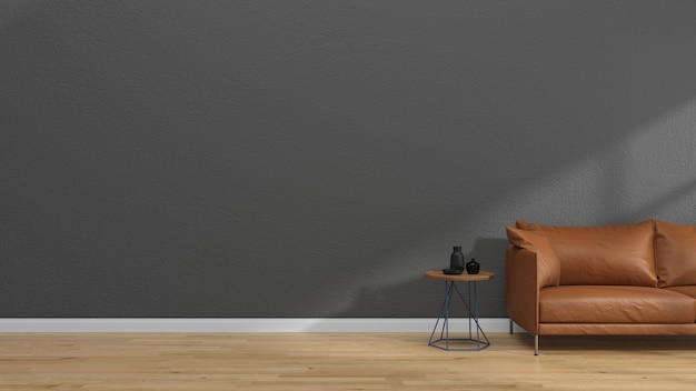 Interieur wohnzimmer ledersofa moderne wand holzfußboden vintage tisch
