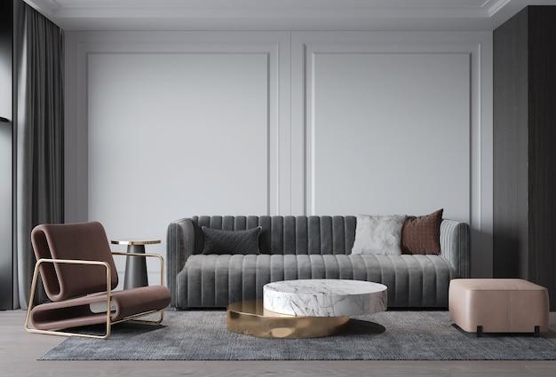 Interieur wohnzimmer modernen klassischen stil, graues sofa mit wanddekoration