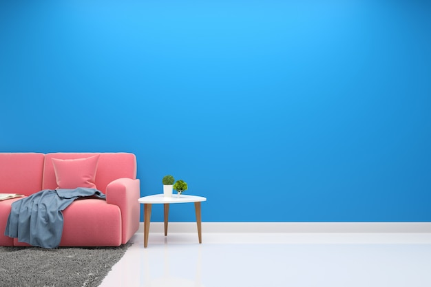 Interieur wohnzimmer rosa sofa moderne wand boden holz tischlampe hintergrund