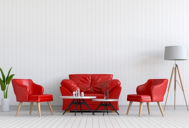Interior design für wohnbereich oder rezeption mit sessel, pflanze. 3d übertragen