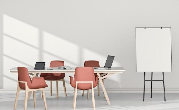 Interior platz für das studium, bestehend aus schreibtisch, laptop, computer und flip-chart.