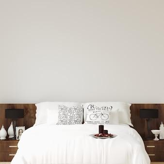 Interior schlafzimmer wand galerie mockup