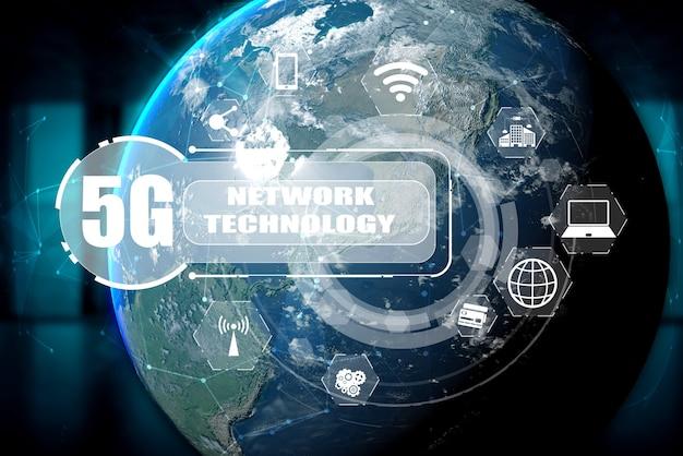 Internationale 3d-illustration und fortschrittliches internet-netzwerk.
