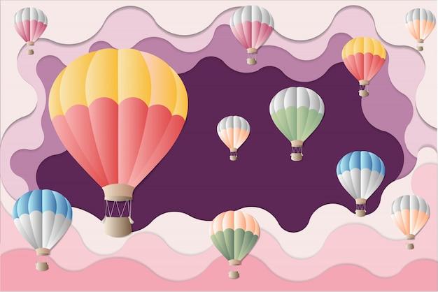 Internationale ballonfestgrafik - bunter ballon auf purpurrotem hintergrund.