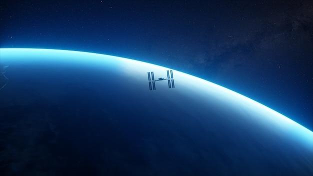 Internationale raumstation iss umkreist den planeten erde im weltraum.