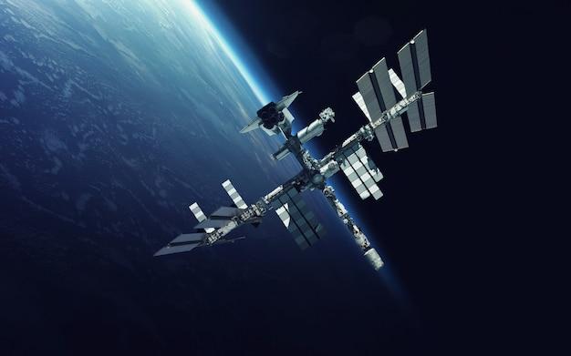 Internationale raumstation über dem planeten erde
