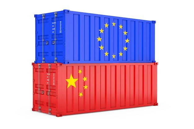 Internationales versandkonzept. frachtcontainer mit europa- und china-flagge auf weißem hintergrund. 3d-rendering