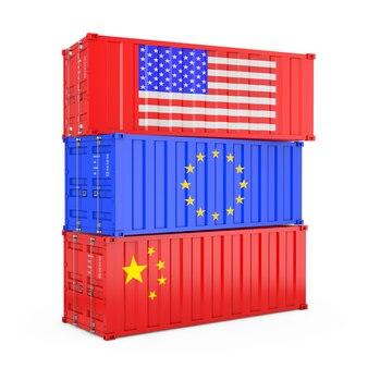 Internationales versandkonzept. frachtcontainer mit usa-, euro- und china-flagge auf weißem hintergrund. 3d-rendering