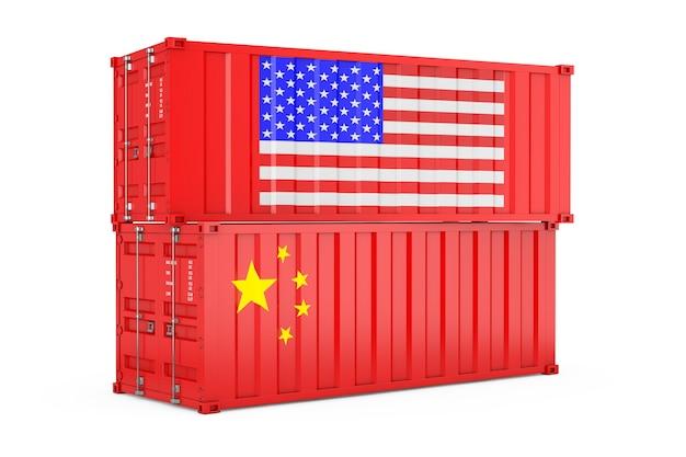Internationales versandkonzept. frachtcontainer mit usa- und china-flagge auf weißem hintergrund. 3d-rendering