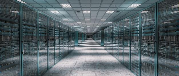 Internes bild eines serverraums. 3d-rendering.