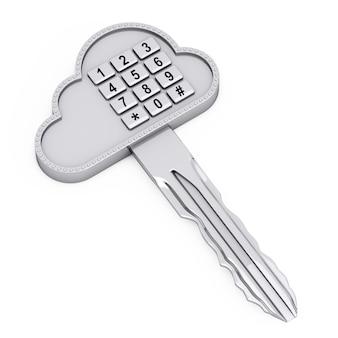 Internet-sicherheitskonzept. cloud key mit digital entry keypad auf weißem hintergrund. 3d-rendering