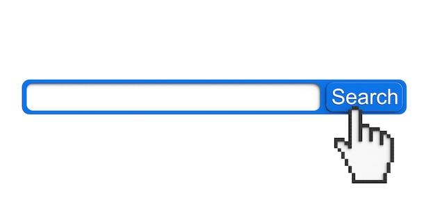 Internet-suchkonzept. browser mit suchschaltfläche und pixelzeiger auf weißem hintergrund