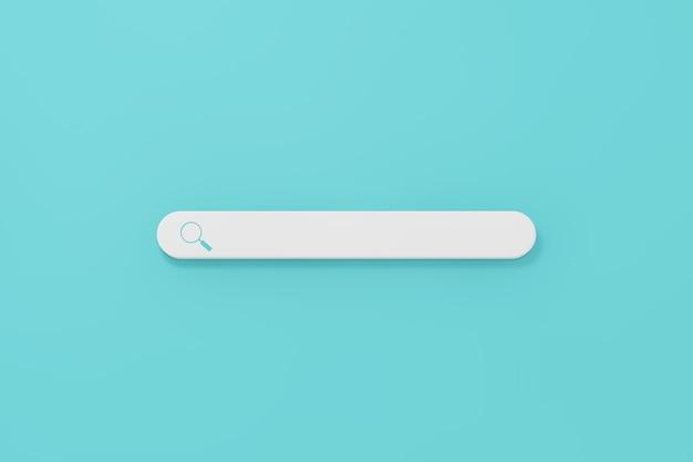 Internet-suchleistensymbol auf blauem grund. 3d-rendering