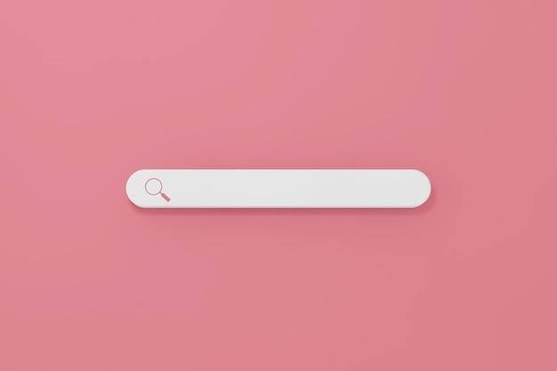 Internet-suchleistensymbol auf rosa hintergrund. 3d-rendering