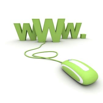 Internet-symbol www mit einer maus verbunden