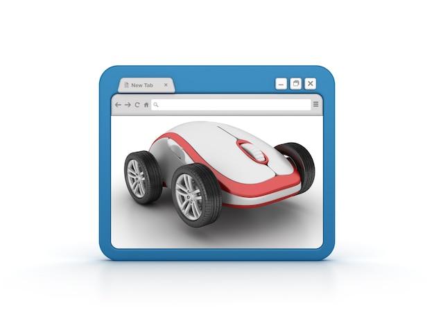 Internetbrowser mit computermaus auf rädern