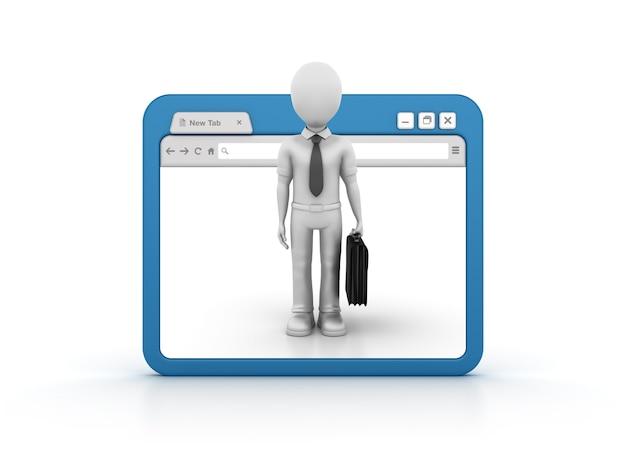 Internetbrowser mit zeichentrickfigur