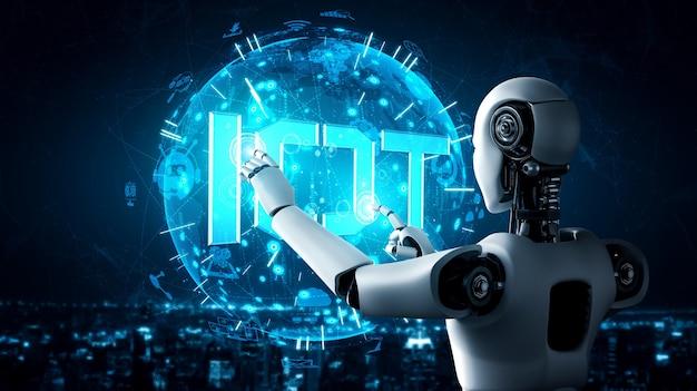 Internetverbindung, die vom ki-roboter und dem maschinellen lernprozess gesteuert wird, um datenkonnektivität und cybersicherheit zu analysieren. 3d-illustration.