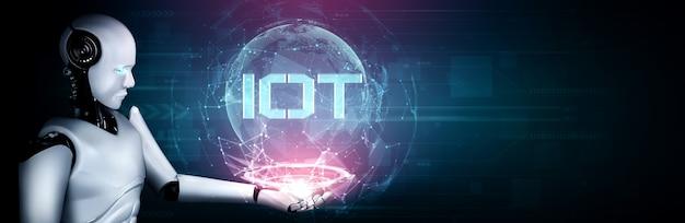 Internetverbindung, die vom ki-roboter und dem maschinellen lernprozess gesteuert wird, um die datenkonnektivität zu analysieren