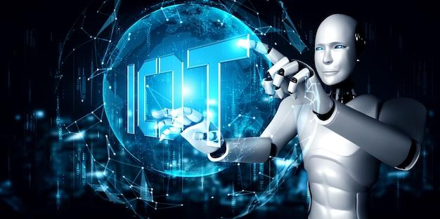 Internetverbindung gesteuert durch ki-roboter und maschinellen lernprozess