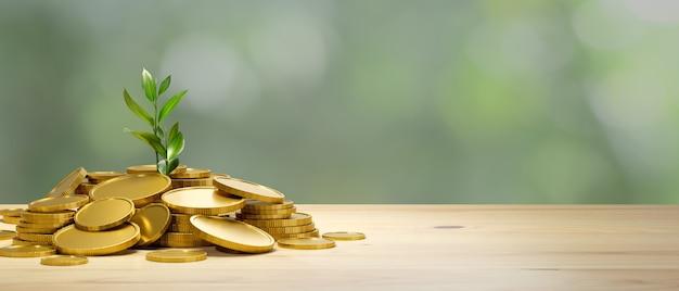 Investition und geld sparen konzept viele goldmünzen mit wachsender pflanze auf holztisch mit kopierraum im unscharfen hintergrund