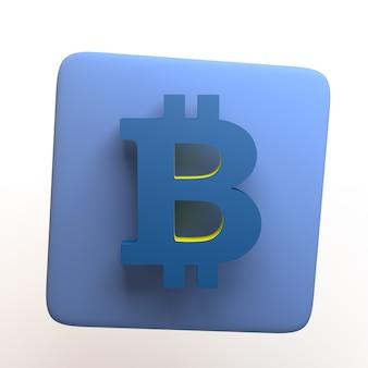 Investment-symbol mit bitcoin-symbol auf weißem hintergrund. app. 3d-darstellung.