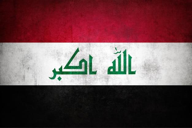 Irak-flagge mit grunge-textur.