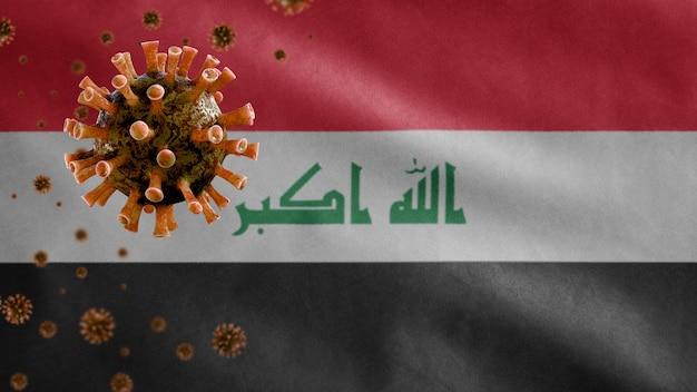 Irakisches fahnenschwingen und coronavirus 2019 ncov-konzept