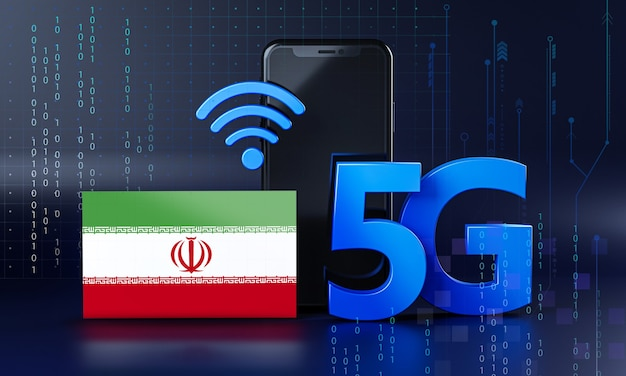 Iran bereit für 5g-verbindungskonzept. hintergrund der 3d-rendering-smartphone-technologie