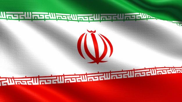 Iran flagge, mit wehenden stoff textur