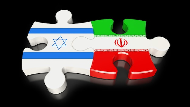 Iran- und israel-flaggen auf puzzleteilen. politisches beziehungskonzept. 3d-rendering