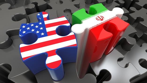 Iran- und usa-flaggen auf puzzleteilen. politisches beziehungskonzept. 3d-rendering