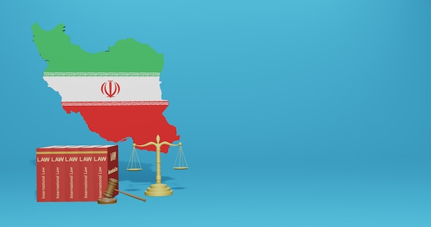 Iranisches gesetz für infografiken, social media-inhalte in 3d-rendering