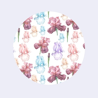 Irisblumen frühling blühen. aquarell-illustrationsmuster