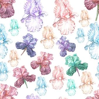 Irisblumen frühling blühende aquarellillustration hand gezeichnete drucktextilpostkarte hintergrundskizze
