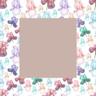Irisblumen frühling blühende aquarellillustration hand gezeichnete drucktextilpostkarte