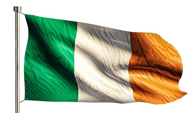 Irland nationalflagge isoliert 3d weißen hintergrund