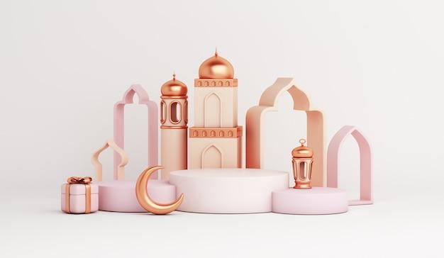 Islamische anzeige podiumdekoration mit moschee arabische laterne halbmond