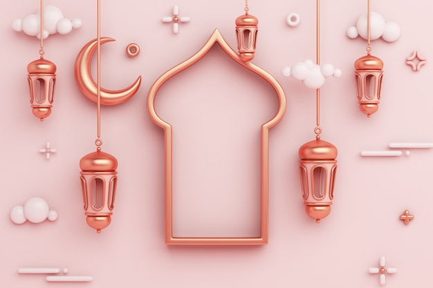 Islamische dekoration hintergrund mit arabischen fensterrahmen laterne halbmond kopie raum