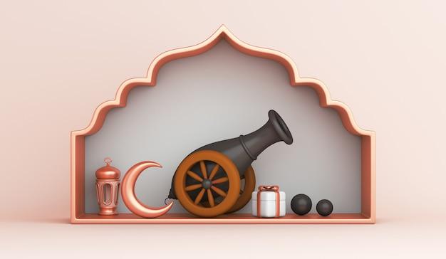 Islamische dekoration mit arabischem fensterrahmenlaternenhalbmond der kanone