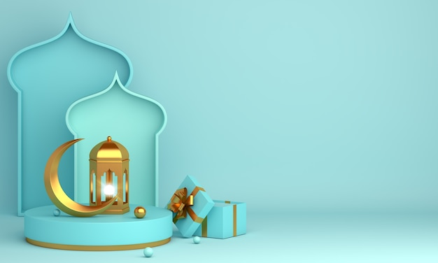Islamische dekoration mit arabischem laternenhalbmond-geschenkbox-kopienraum