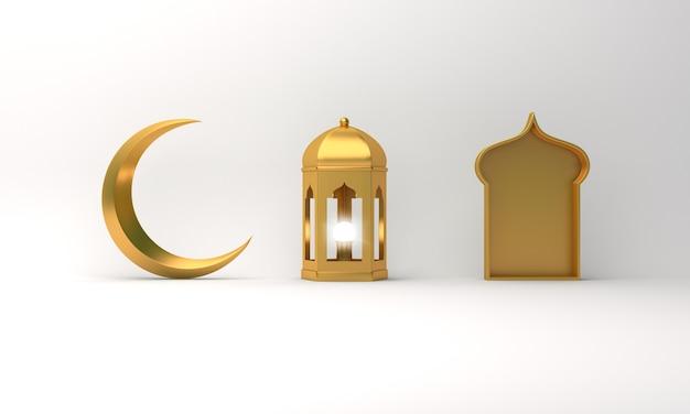 Islamische dekoration mit arabischem laternenhalbmondfenster