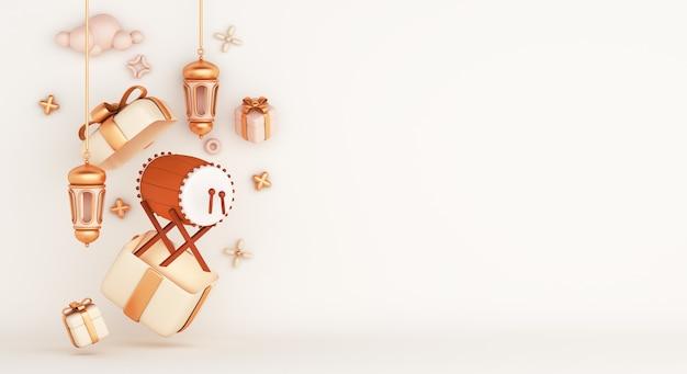 Islamische dekoration mit bedug trommel arabische laterne geschenkbox, kopienraum